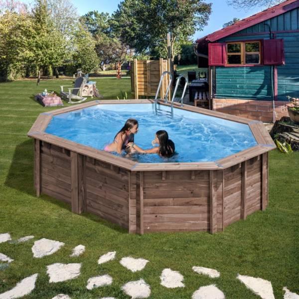 Pool Komplettset aus Echtholz Bambu Oval 535 x 335 x 130 cm