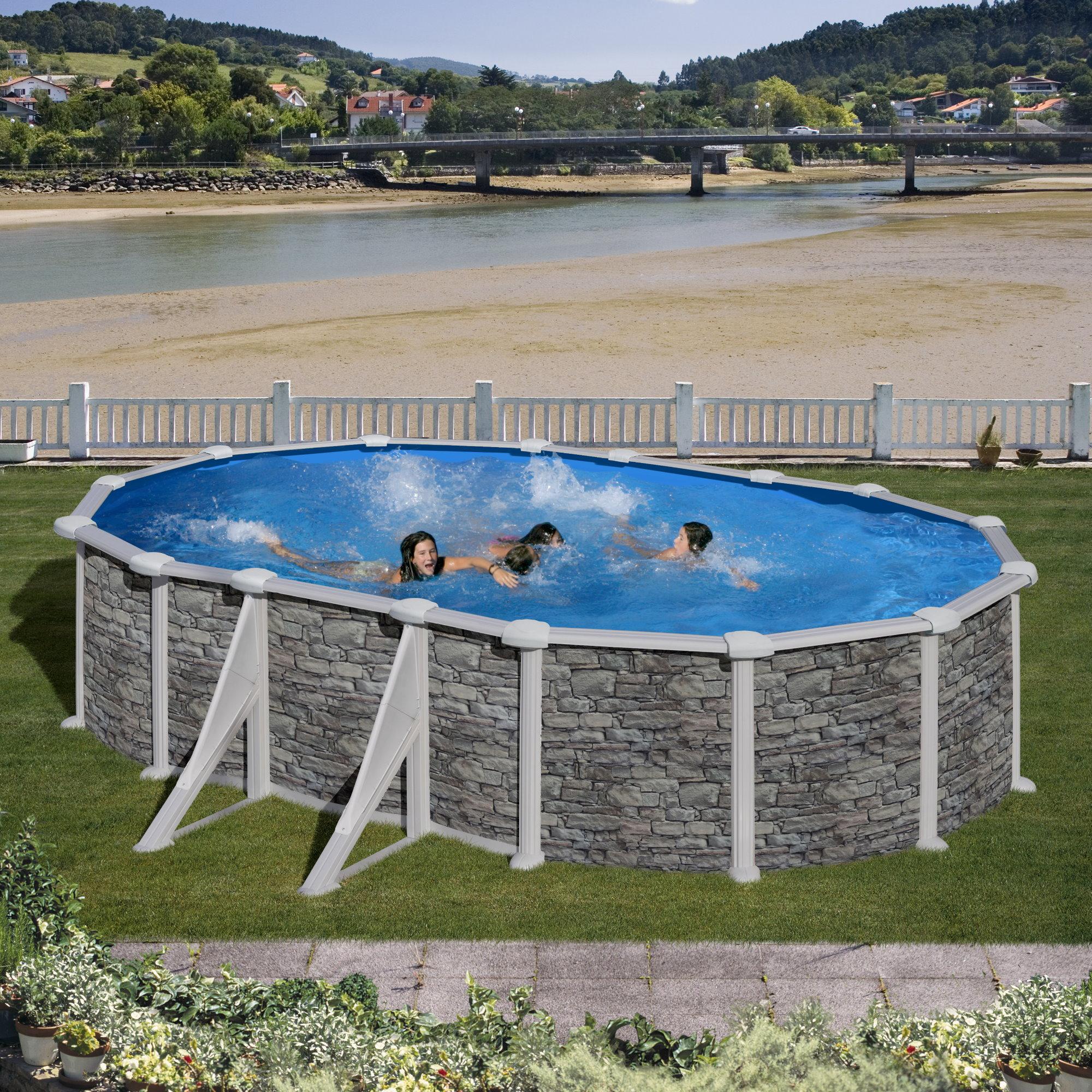 ovalformbeckenset steinoptik corcega 730 x 375 x 132 cm. Black Bedroom Furniture Sets. Home Design Ideas