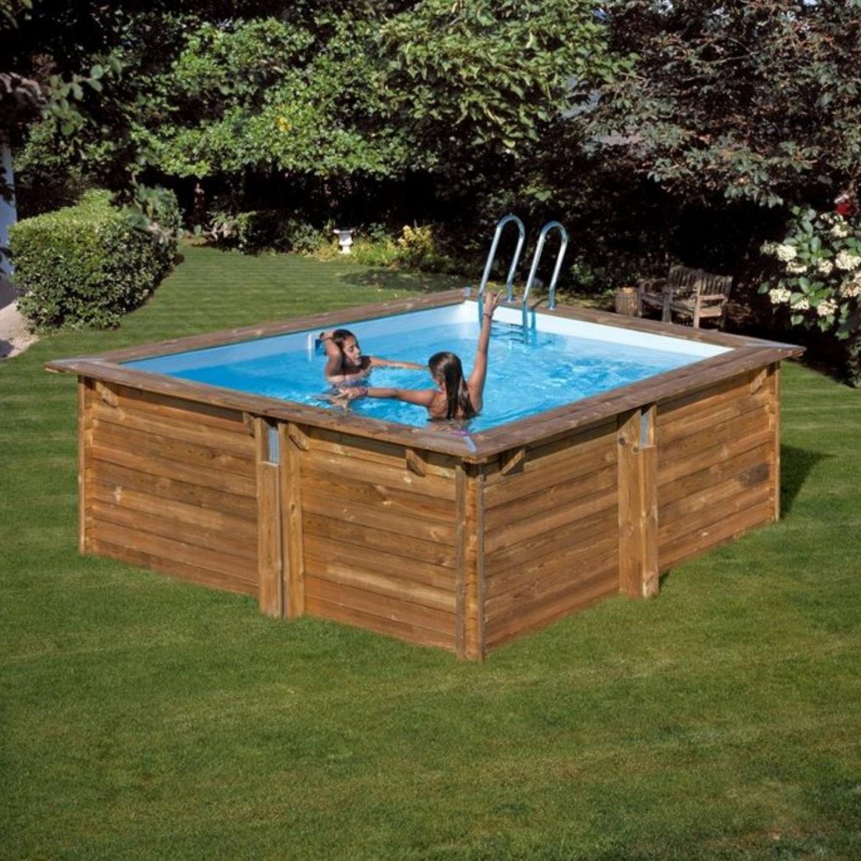 pool komplettset aus echtholz carra quadrat 300 x 300 x. Black Bedroom Furniture Sets. Home Design Ideas