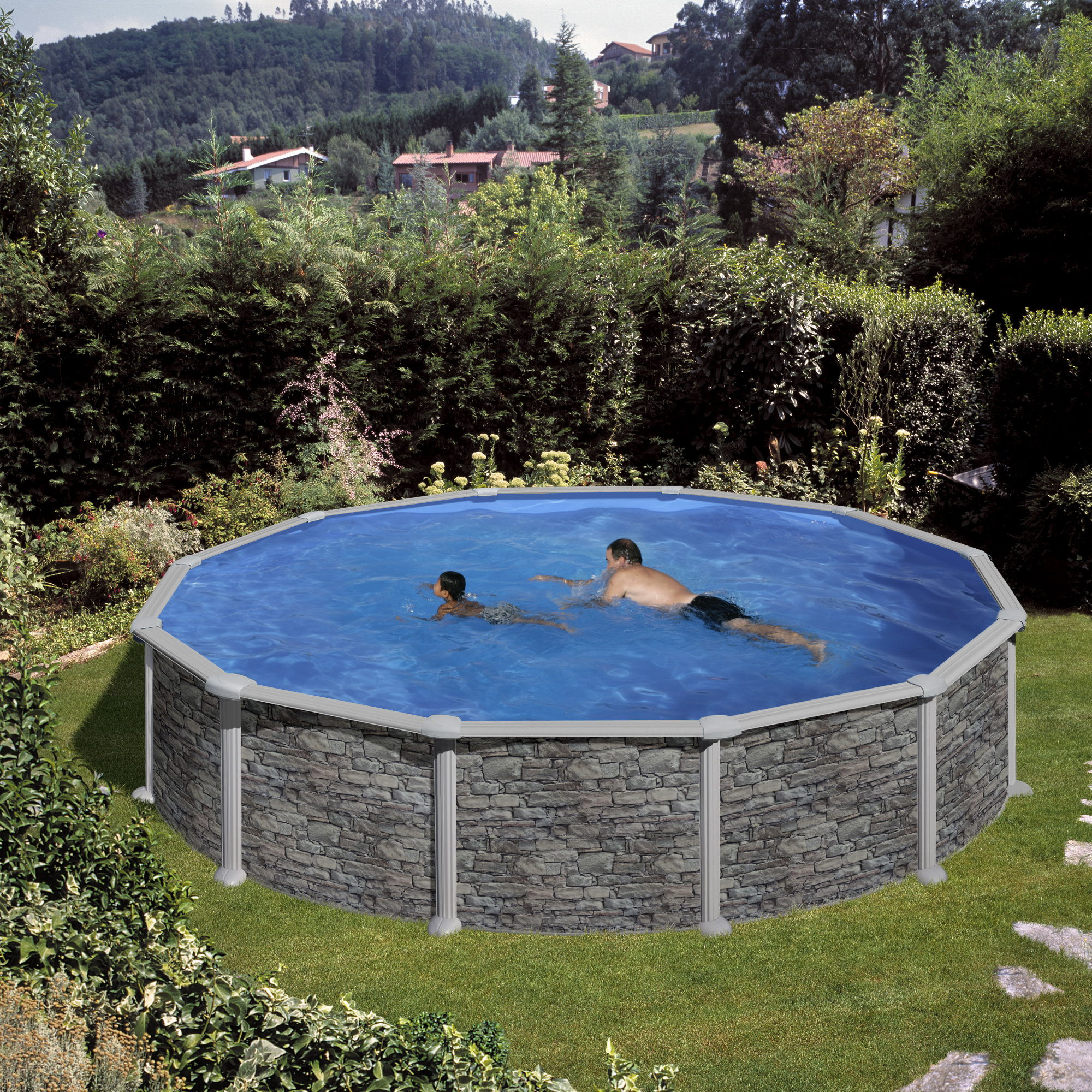 rundformbeckenset steinoptik corcega 550 x 132 cm pool chlor shop. Black Bedroom Furniture Sets. Home Design Ideas