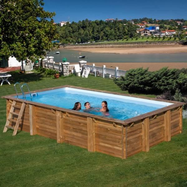 Pool Komplettset aus Echtholz Braga Rechteck 800 x 400 x 146 cm