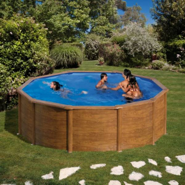 Rundformbeckenset holzoptik pacific 460 x 120 cm pool for Pool holzdekor
