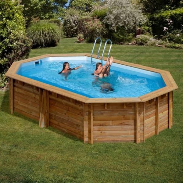 Pool Komplettset aus Echtholz Vermela Oval 672 x 472 x 146 cm