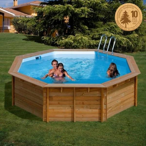 Pool Komplettset aus Echtholz Violette Ø 511 x 124 cm