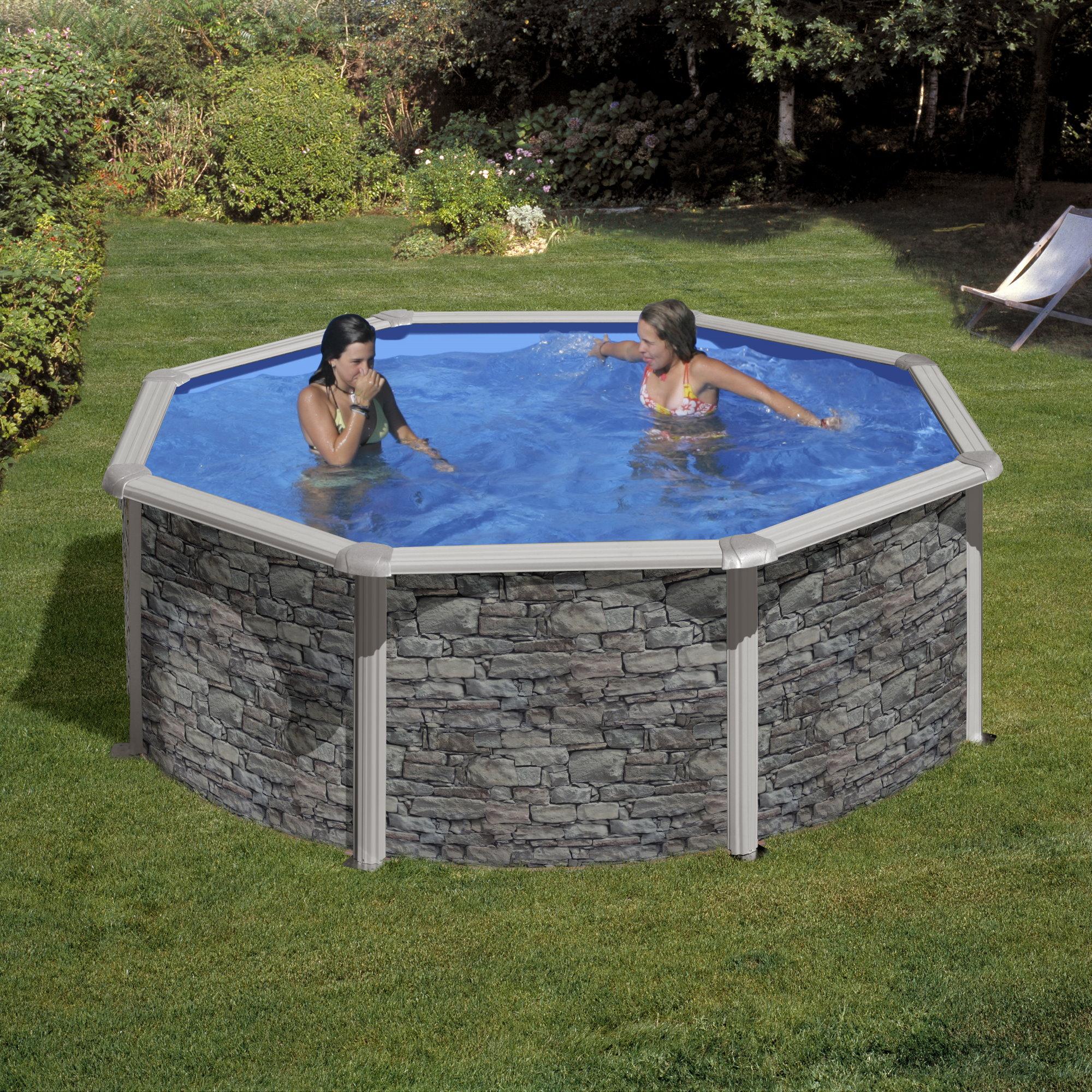 Rundformbeckenset steinoptik cerdena 460 x 120 cm pool for Poolfolie 460 x 120