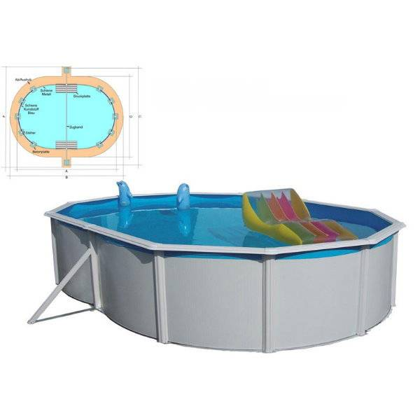stahlwandpool set nuovo de luxe oval 550x360 x 120cm ohne filteranlage pool chlor shop. Black Bedroom Furniture Sets. Home Design Ideas
