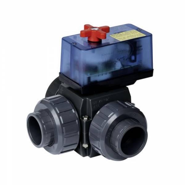 Dreiwege-Motor Kugelhahn PVC 50mm mit elekt. Stellmotor