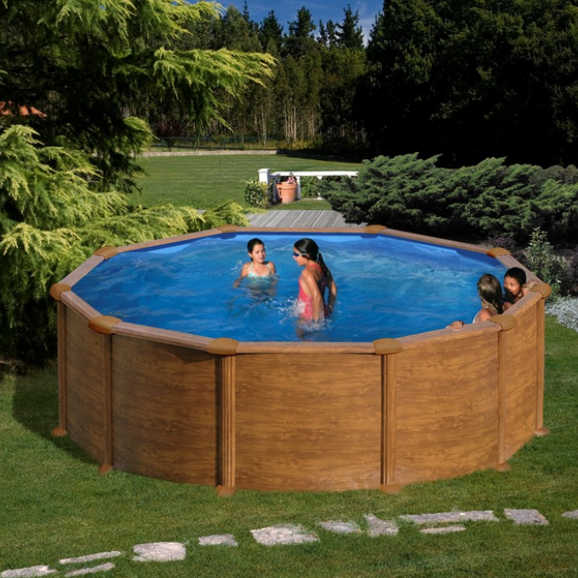 rundformbeckenset holzoptik mauritius 350 cm x 132 cm pool chlor shop. Black Bedroom Furniture Sets. Home Design Ideas