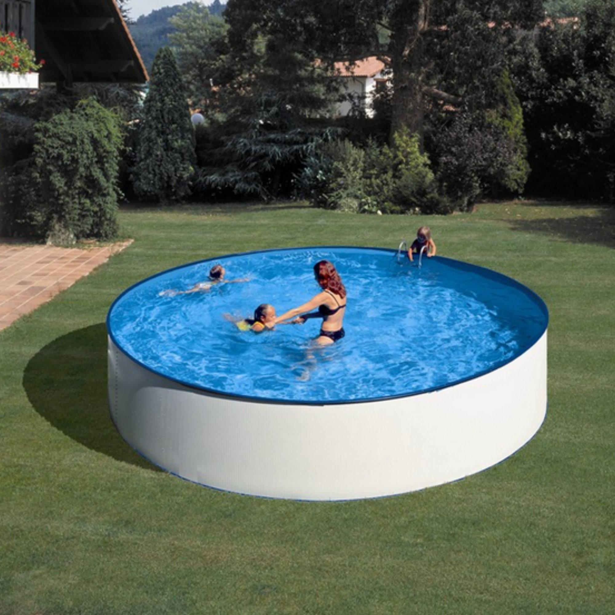 Rundformbeckenset stahloptik gran canaria 350 cm x 120 for Pool 120 cm tief