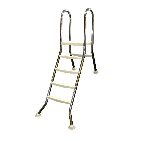 Hochbeckenleiter Edelstahl 1x4-stufig mit 1x1 Stufen für 1,2m Beckenhöhe