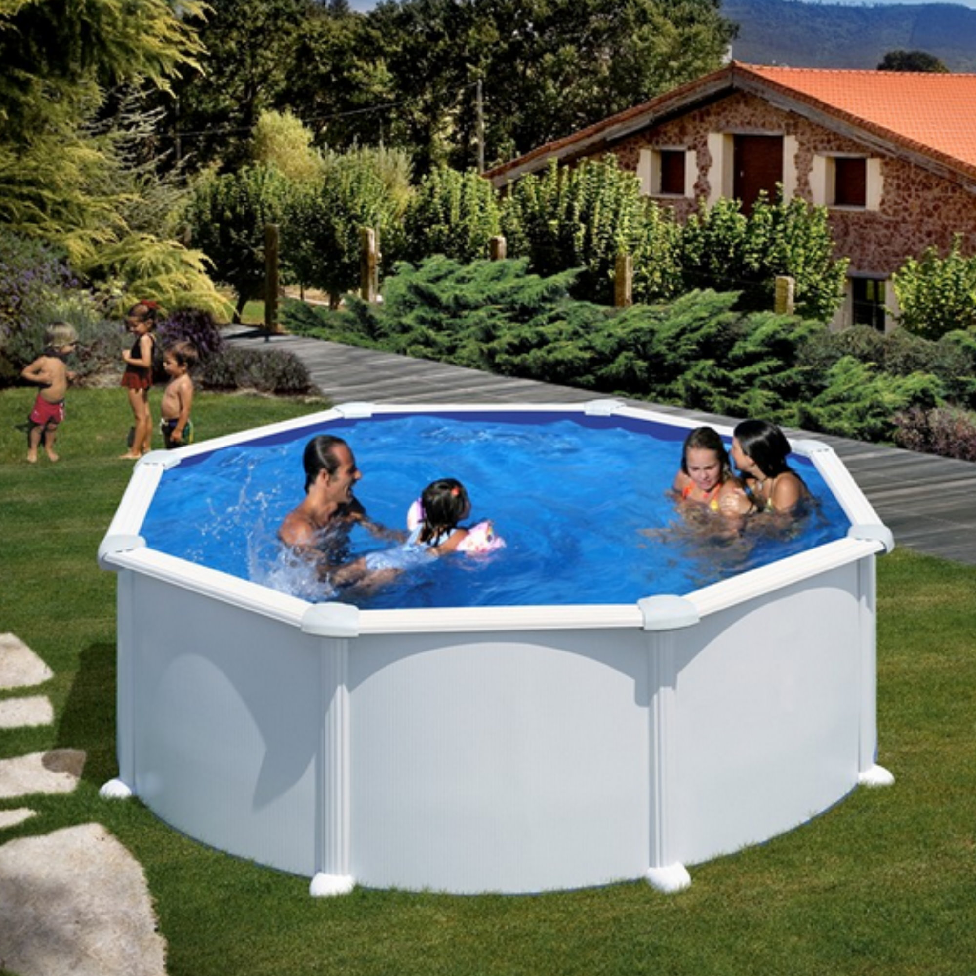 Rundformbeckenset stahloptik bali 300 cm x 120 cm pool for Pool 120 cm tief
