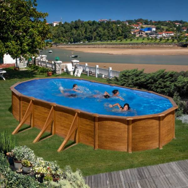 Ovalformbeckenset holzoptik pacific 730 x 375 x 120 cm for Pool holzdekor