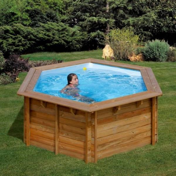 Pool Komplettset aus Echtholz Lili Ø 311 x 119 cm