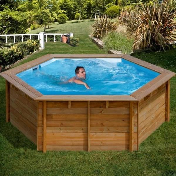 Pool Komplettset aus Echtholz Vanille ECO Ø 412 x 119 cm