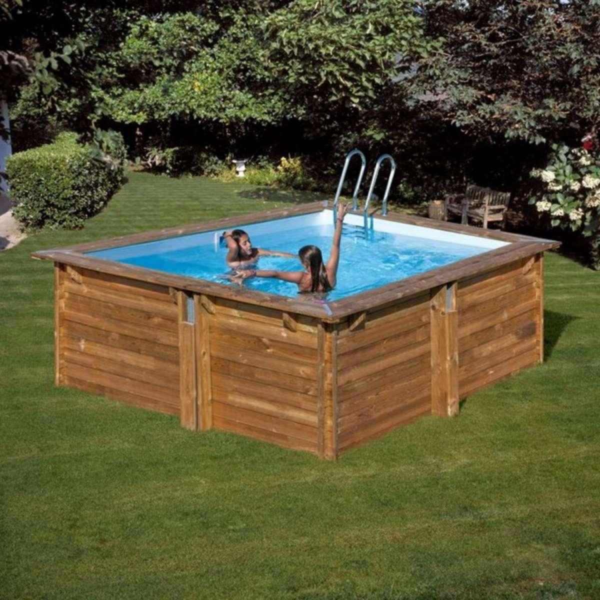 pool komplettset aus echtholz carra quadrat 300 x 300 x 119 cm