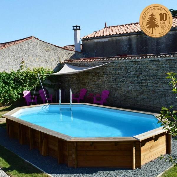 Pool Komplettset aus Echtholz Safran Oval 637 x 412 x 133 cm