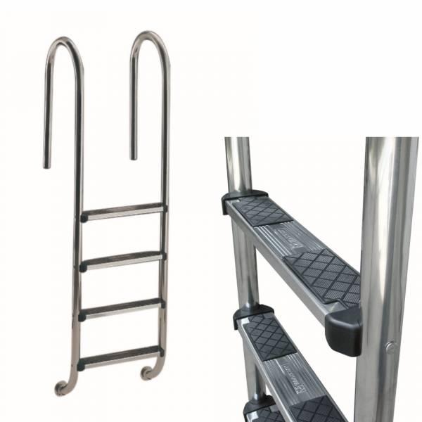 Einbauleiter V4A enger Holm mit Deluxe Stufe 4-stufig
