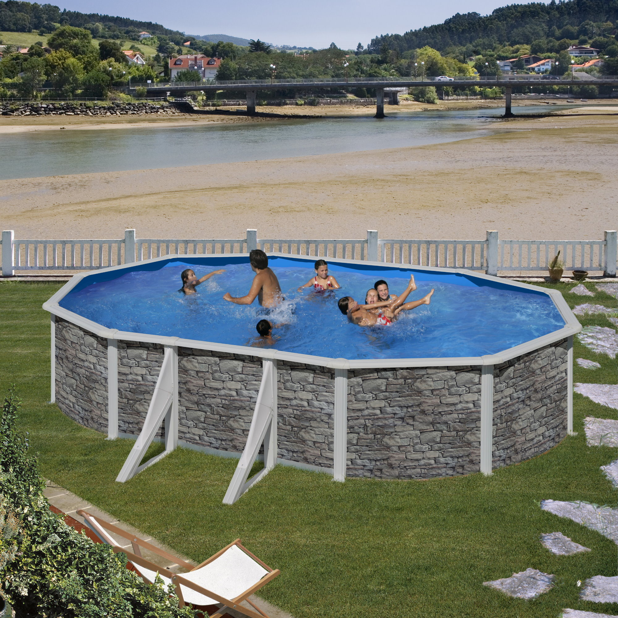 Ovalformbeckenset steinoptik cerdana 610 x 375 x 120 cm for Poolfolie steinoptik
