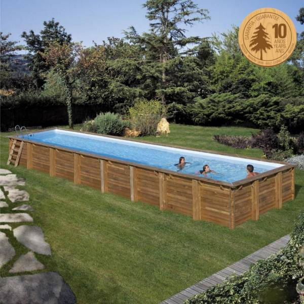 Pool Komplettset aus Echtholz Cardamon Rechteck 1210 x 418 x 146 cm