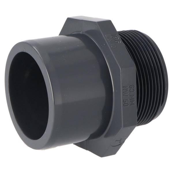 """Übergangs-Muffennippel PVC grau Klebemuffe d/Aussengewinde d50/63-2"""""""