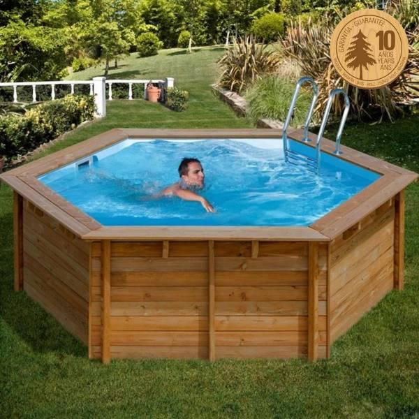 Pool Komplettset aus Echtholz Vanille Ø 412 x 119 cm