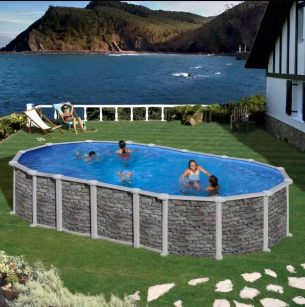 Ovalformbeckenset Steinoptik Santorini OMEGA 730 x 375 x 132 cm
