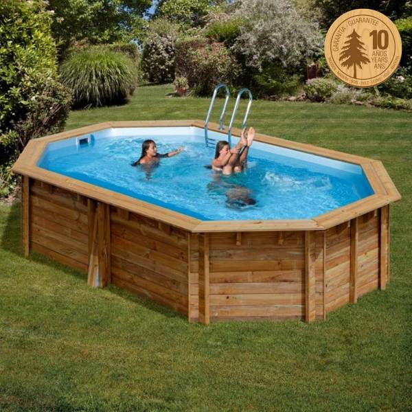 Pool Komplettset aus Echtholz Cannelle Oval 551 x 351 x 119 cm