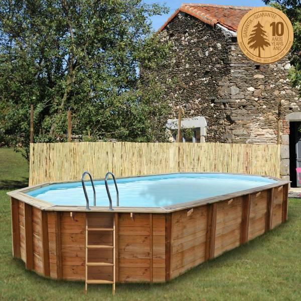 Pool Komplettset aus Echtholz Sevilla Oval 872 x 472 x 146 cm