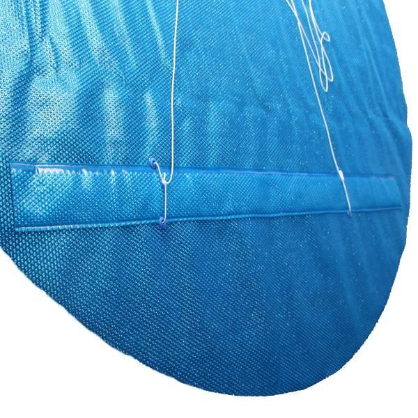 Solarfolie blau 400my mit Zugschlaufe, Ösen und Leine für Achtformbecken