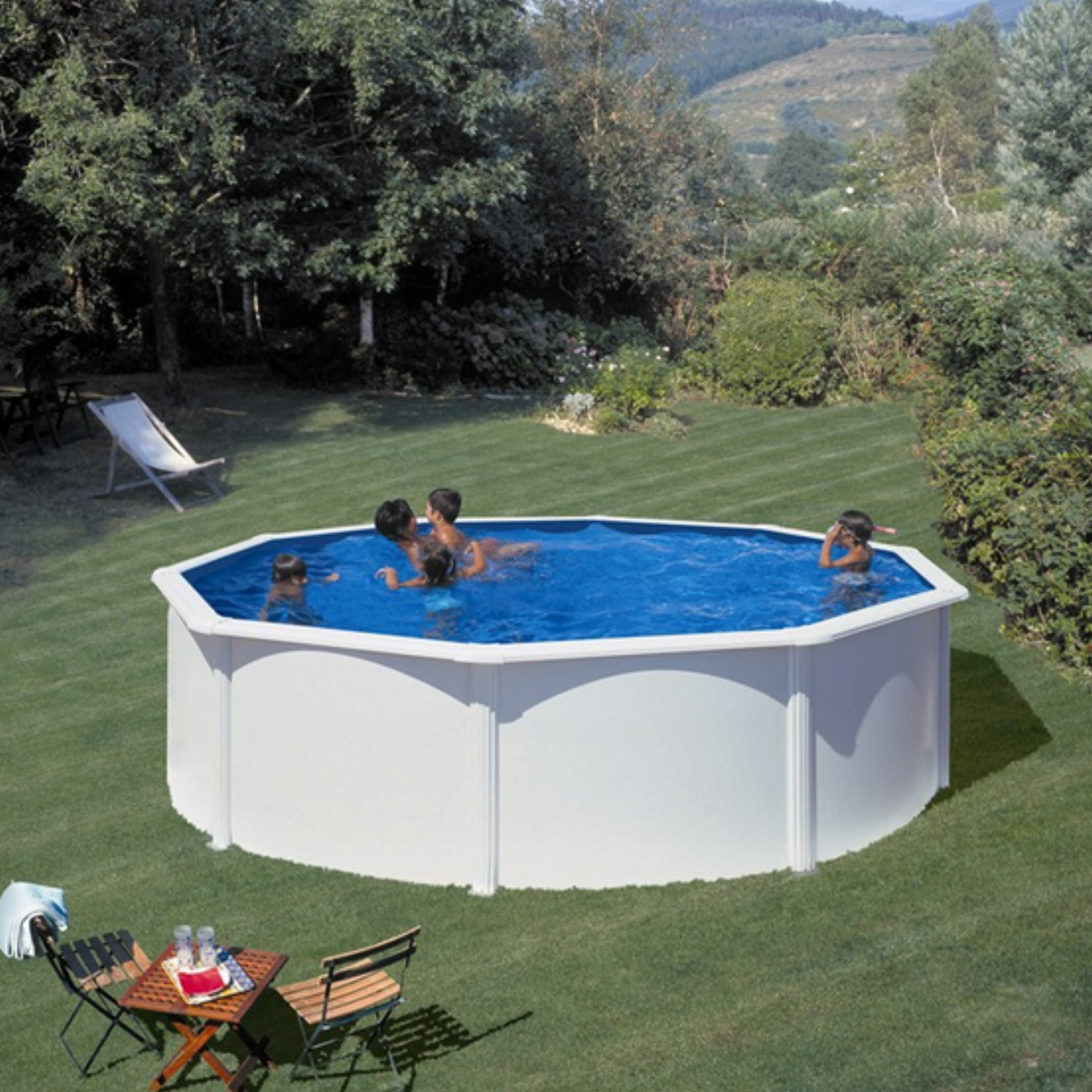 Rundformbeckenset stahloptik bali 460 x 120 cm pool for Poolfolie 460 x 120