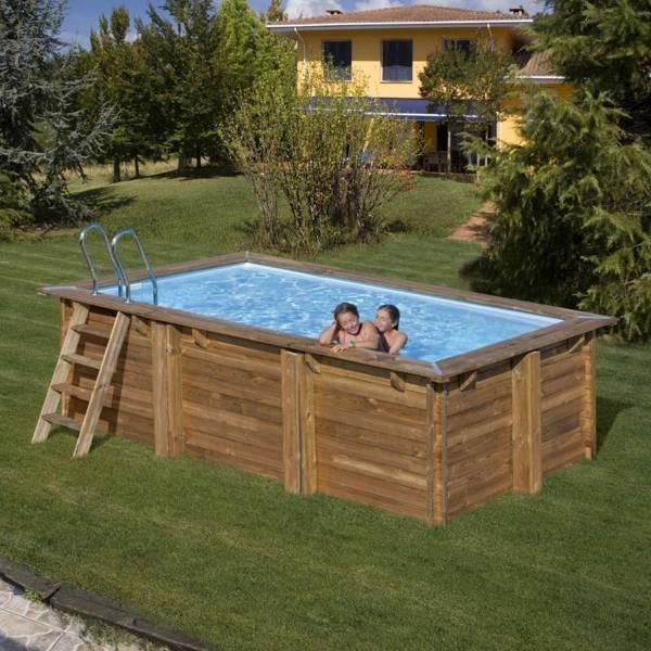 Pool Komplettset aus Echtholz Marbella Rechteck 427 x 277 x 119 cm